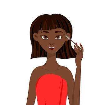 Schoonheid afrikaanse vrouw past oogschaduw toe. cartoon stijl.