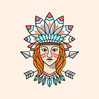 Schoonheid apache meisjeillustratie
