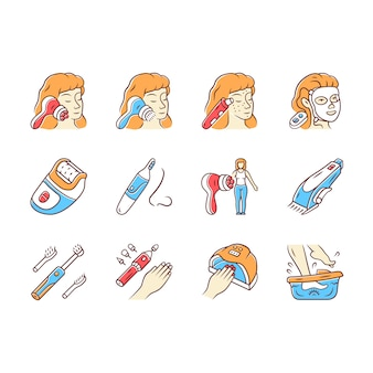 Schoonheid apparaten kleur pictogrammen instellen. cosmetische procedures voor thuis en in de salon. schoonheid gadgets, instrumenten. gezichtsmassage, mee-eterverwijderaar, epilator, neushaartrimmer.