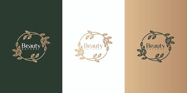 Schoonheid blad frame logo ontwerpset