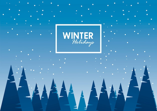 Schoonheid blauwe winterlandschap scène en belettering met vierkante frame illustratie
