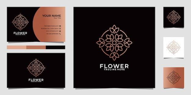 Schoonheid bloem blad logo ontwerp en visitekaartje