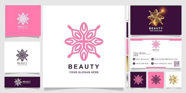 Schoonheid, bloem, boetiek of ornament logo sjabloon met visitekaartje ontwerp.