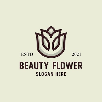 Schoonheid bloem logo retro vintage vector sjabloon