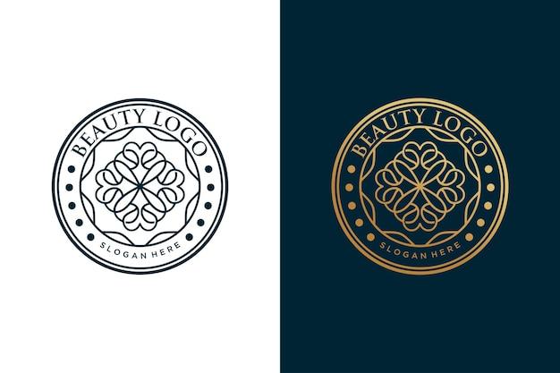 Schoonheid bloem logo vintage cirkel ontwerp