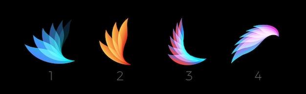 Schoonheid bloemblaadjes platte cartoon stijl vector logo set concept abstracte lichte gradiënt vleugels symbool