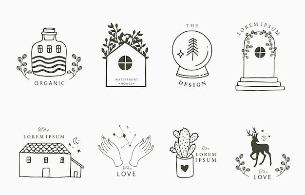 Schoonheid boho-collectie met hand, hert, cactus, bloem, huis.