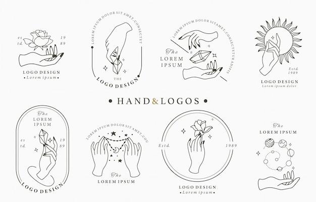 Schoonheid boho logo collectie met hand