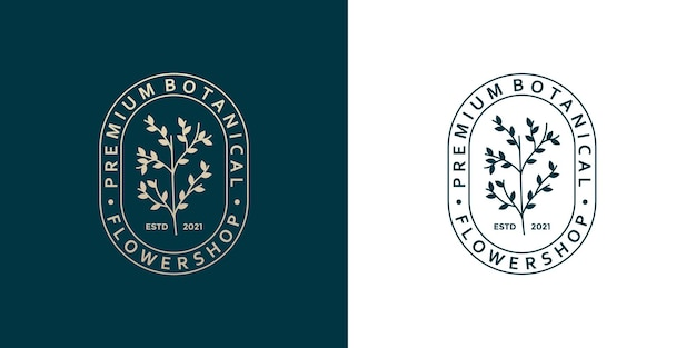 Schoonheid botanisch logo ontwerp badge retro-stijl voor bloemist, bloemenwinkel, plantenwinkel