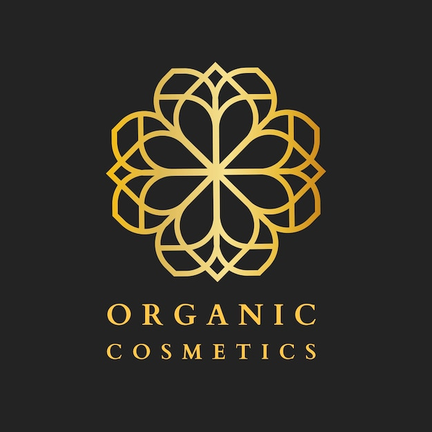 Schoonheid cosmetische spa-logo, gouden luxe ontwerp voor gezondheids- en wellness-bedrijfsvector