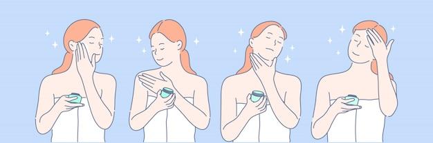Schoonheid, cosmetologie, huidverzorging ingesteld concept