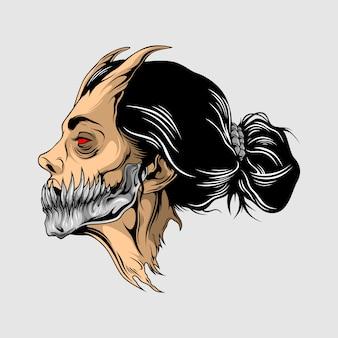 Schoonheid demon hoofd illustratie