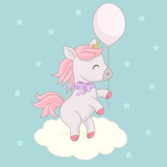 Schoonheid eenhoorn met ballon