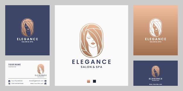 Schoonheid elegantie vrouwen gezicht en kapsel logo ontwerp met gouden kleur