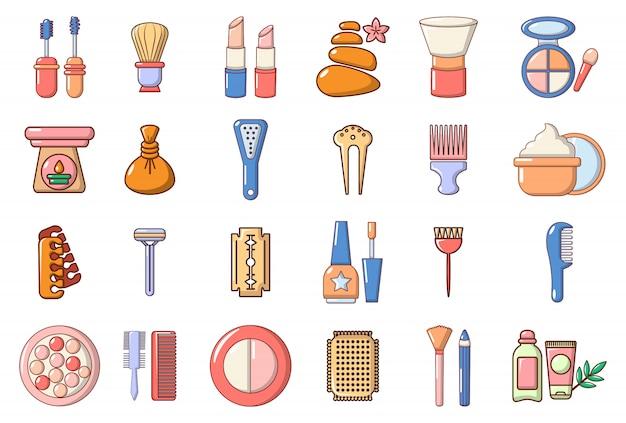 Schoonheid element pictogramserie. beeldverhaalreeks vectorpictogrammen van het schoonheidselement geplaatst geplaatst