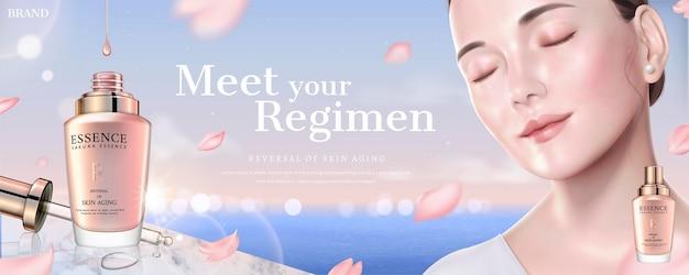 Schoonheid essentie banner banner met model en kersenbloesems vliegen in de lucht, 3d illustratie