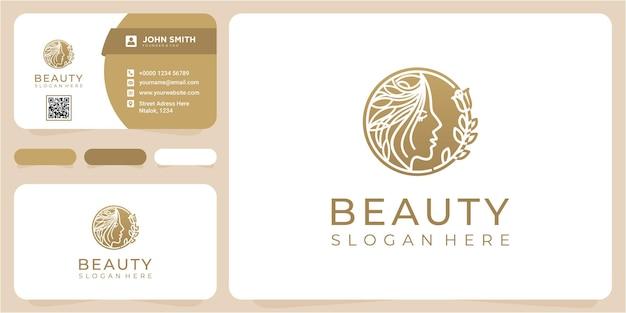 Schoonheid gezicht kapsalon logo ontwerpsjabloon met visitekaartje