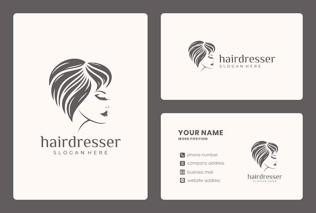 Schoonheid gezicht, kapsel, vrouw logo ontwerp met sjabloon voor visitekaartjes.