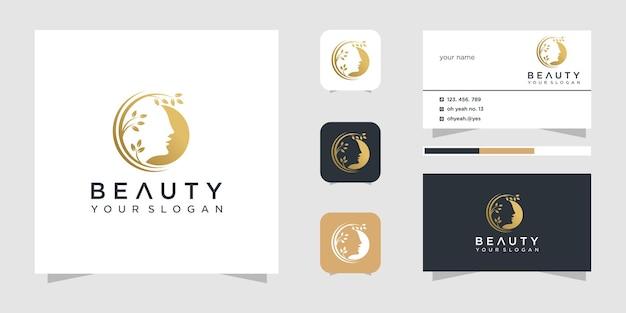 Schoonheid gezicht logo ontwerp inspiratie en visitekaartje.
