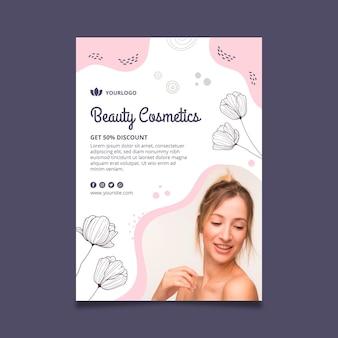 Schoonheid gezichtscosmetica flyer-sjabloon