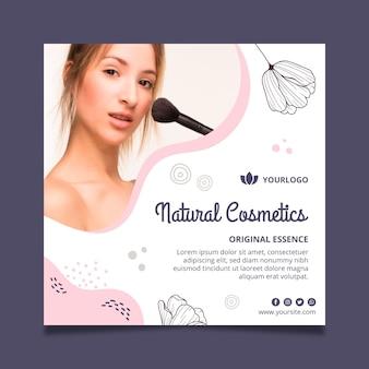 Schoonheid gezichtscosmetica flyer vierkante sjabloon