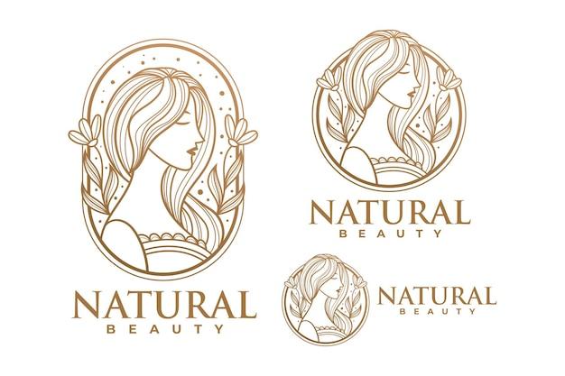Schoonheid gouden vrouw logo sjabloon