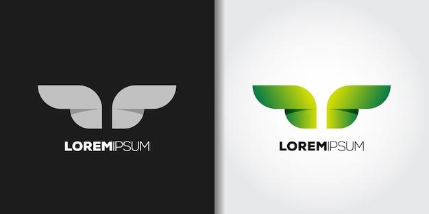 Schoonheid groene vleugels logo set