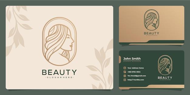 Schoonheid haar vrouw luxe monoline logo ontwerp en visitekaartje