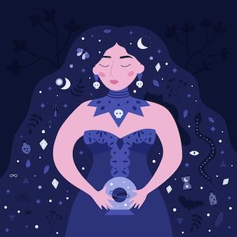 Schoonheid heks met kristallen bol