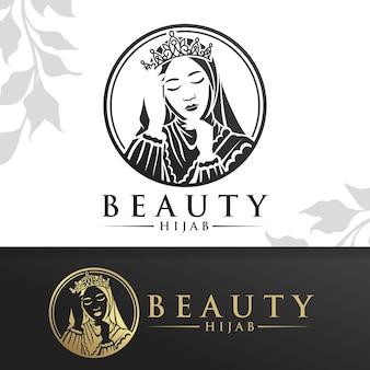 Schoonheid hijab vrouw logo sjabloon
