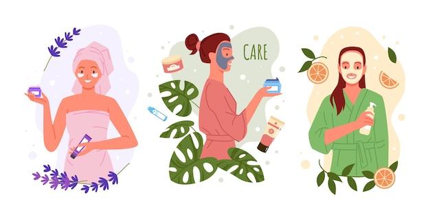 Schoonheid huidverzorging met natuurlijke eco-cosmetica mooie vrouwenkarakters zorgen voor de gezichtshuid