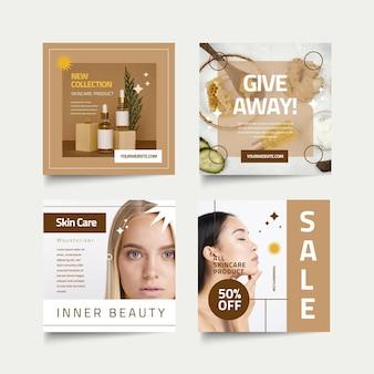 Schoonheid instagram post pack plat ontwerp