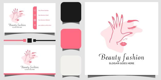 Schoonheid jonge vrouwen logo ontwerp illustratie met visitekaartje sjabloon achtergrond