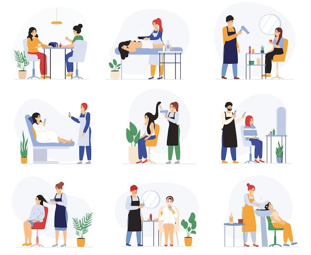 Schoonheid, kappers, spa massage salon procedures diensten. spa salon klanten, manicure, gezichtsprocedures, massage vector illustratie set. mensen die schoonheidssalon bezoeken