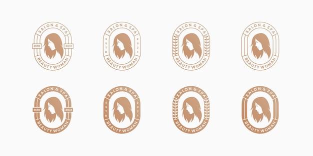 Schoonheid kapsel vrouw salon en spa logo ontwerp badge retro stijl.