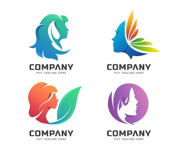 Schoonheid kleurrijke vrouwelijke spa-logo