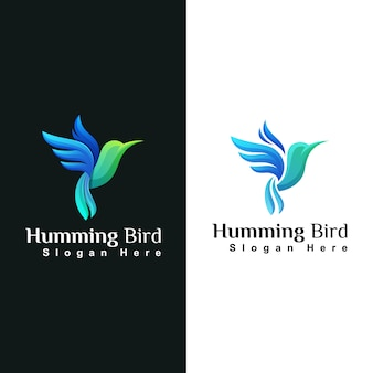 Schoonheid kolibrie of colibri dierlijke logo ontwerpsjabloon