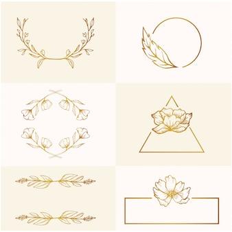 Schoonheid lente gouden bloemen schets bruiloft frame sieraad