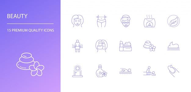Schoonheid lijn iconen set.