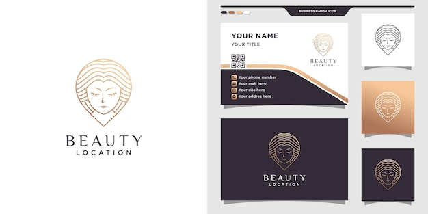Schoonheid locatie logo met vrouwengezicht en pin
