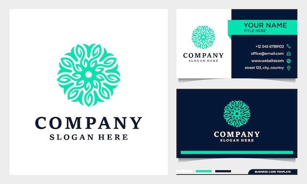Schoonheid logo en visitekaartje ontwerp illustratie.