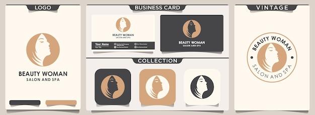 Schoonheid logo met gezicht vrouw concept. set sjabloon voor visitekaartjes.