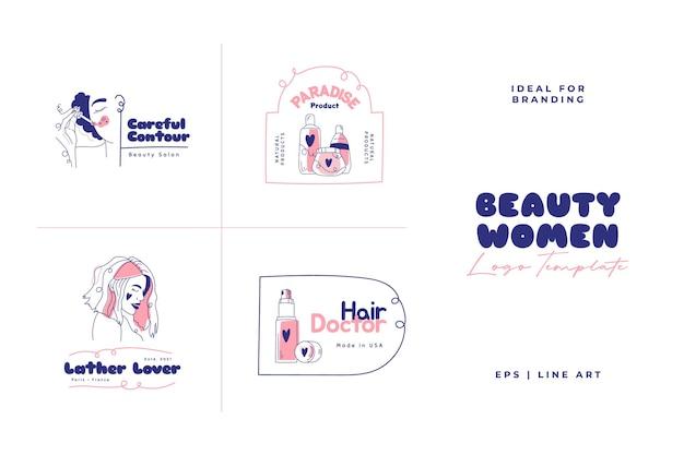 Schoonheid logo sjabloon set. doodle vectorillustratie.