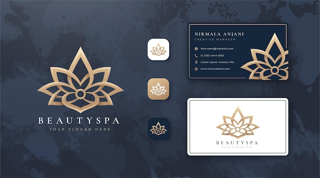 Schoonheid lotus logo en visitekaartje ontwerp