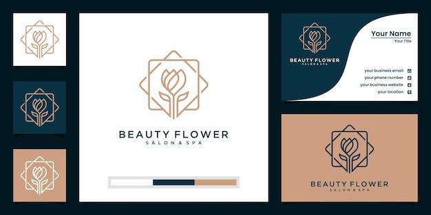Schoonheid lotus met lijntekeningen stijl logo-ontwerp en visitekaartje. goed gebruik voor spa-, salon- en mode-logo