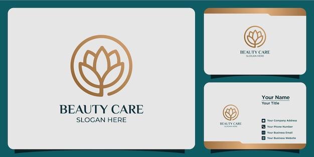 Schoonheid lotusbloem logo set en visitekaartje