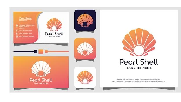 Schoonheid luxe elegant pearl shell-logo-ontwerp