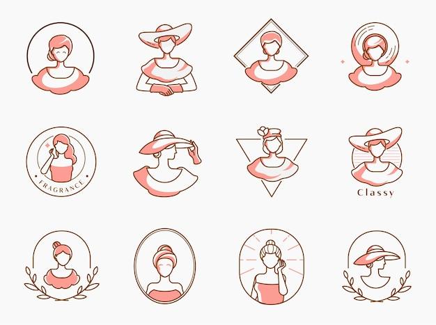 Schoonheid madame logo set met vrouw met hoed