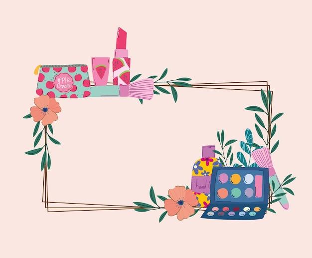 Schoonheid make-up kit borstel lippenstift handcrème en bloemen frame vectorillustratie