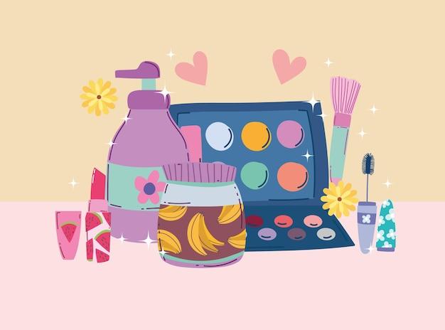 Schoonheid make-up oogschaduw palet mascara lippenstift crème en bodylotion vectorillustratie